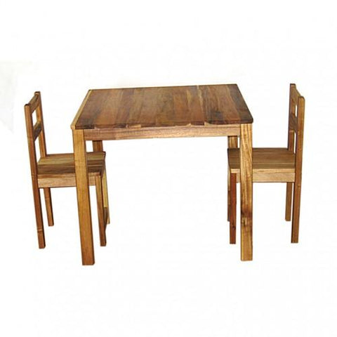 photo with a white background and a kids wooden stained table and matching pair of chairs