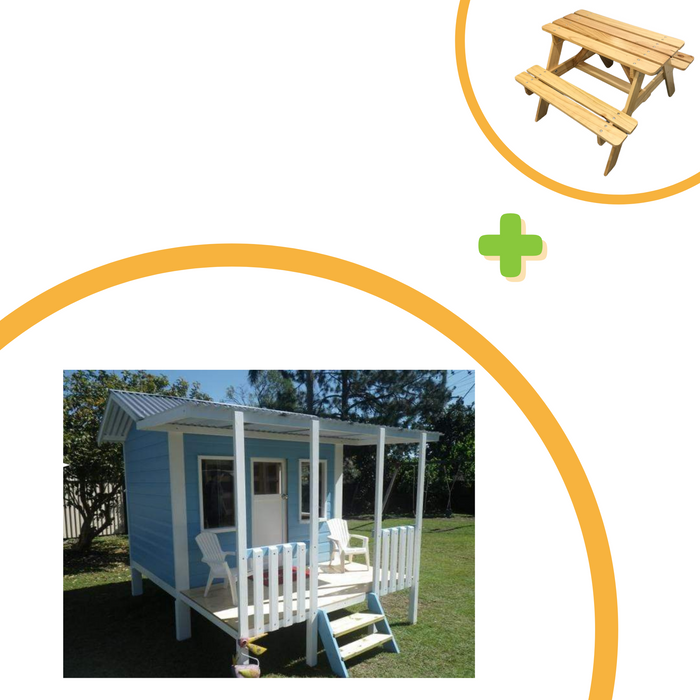 white background with the Classic Kids Cubby House with free picnic table