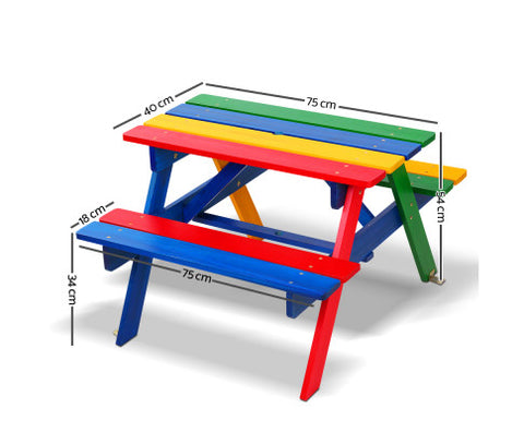 Kids Wooden Picnic Outdoor Bench Set Non-toxic Paint Colorful