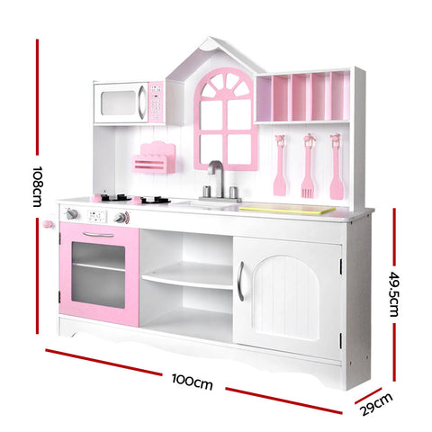 Extra Large Kids Kitchen Wooden Play Set White And Pink