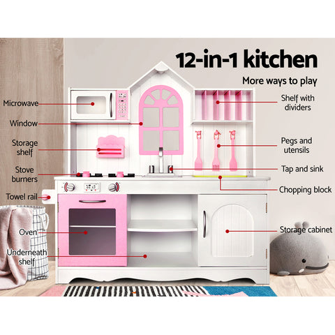 woodenkidskitchenplaysetwhiteandpink AfterPay ZipPayAll Things For Kids Melbourne Sydney Adelaide Brisbane Gold Coast Online Buy Now