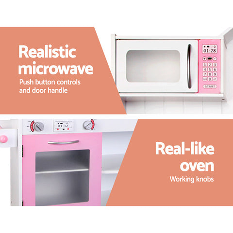 Image of Extra Large Kids Kitchen Wooden Play Set White And Pink All Things For Kids Kids Kitchen $286.23 AUD All Things For Kids Afterpay Zip