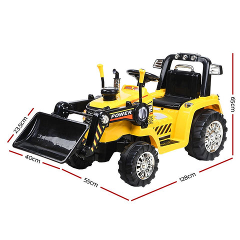 Image of Electric Bulldozer Tractor Loader inspired Kids Ride On Toys - Yellow & Black $348.95 AUD All Things For Kids Kids Ride on Car Afterpay Zip