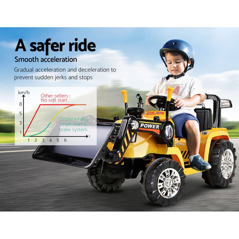 Electric Bulldozer Tractor Loader inspired Kids Ride On Toys - Yellow & Black $348.95 AUD All Things For Kids Kids Ride on Car Afterpay Zip