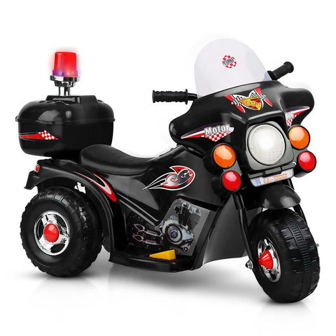 Kids Ride on Police Motorbike Black with Flashing Lights