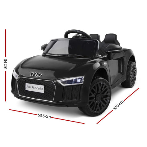 Kids Ride on Car Audi R8 Spyder Toy Car Kids Car Black with Working Lights Playing Music and Mp3 Player All Things For Kids Kids Ride on Car allthingsforkids.myshopify.com afterpay zip