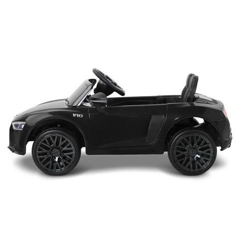 Image of Kids Ride on Car Audi R8 Spyder Toy Car Kids Car Black with Working Lights Playing Music and Mp3 Player