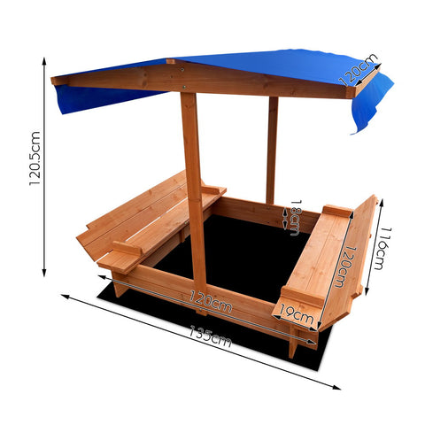 Children Canopy Sand Pit Wooden Sandpit Sun Protection
