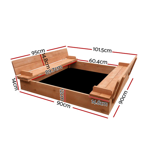 Childrens Wooden Square Sandpit with Cover Sandbox Kids
