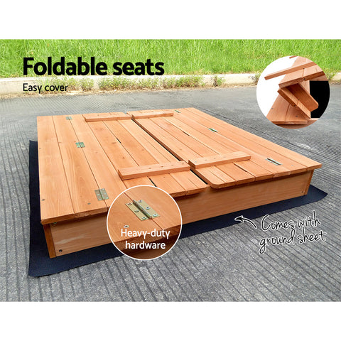 Childrens Wooden Square Sandpit with Cover Sandbox Kids All Things For Kids Sandpits $224.78 AUD All Things For Kids Afterpay Zip