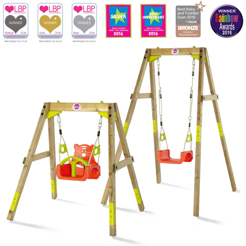 Growing Wooden Swing Set for Baby, Toddler and Child Made by Plum Play