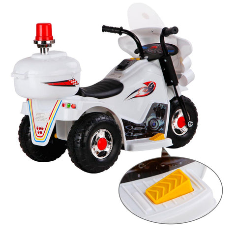 Kids Ride on Motorbike White with Flashing Lights