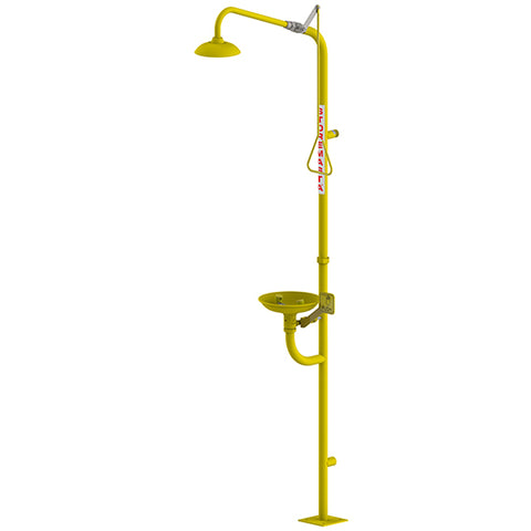 Combination Emergency Shower Eye Wash Hand Operated - Yellow