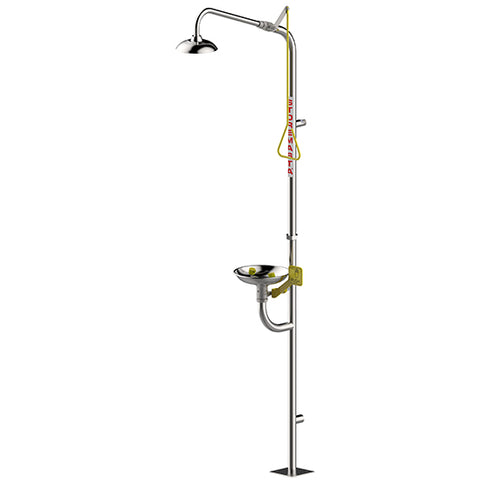 Combination Emergency Shower Eye Wash Hand Operated - Stainless Steel