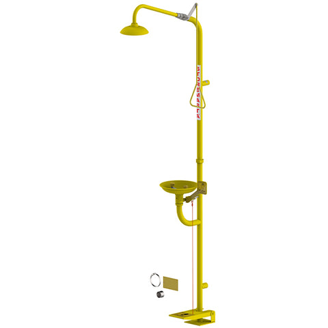Combination Emergency Shower Eye Wash Hand/Foot Operated - Yellow