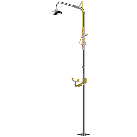 Combination Emergency Shower & Hand Operated Eye Wash - No Bowl - Stainless Steel