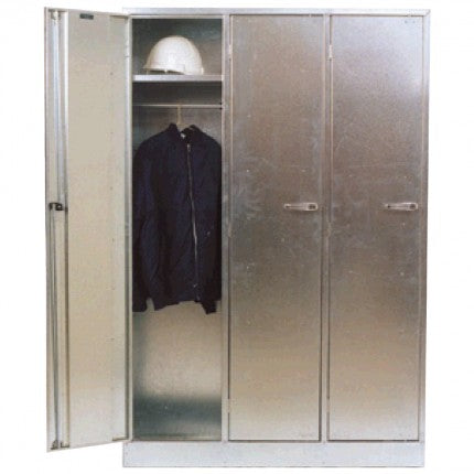 Galvanised Lockable Cabinet - Triple Bank - STOREMASTA
