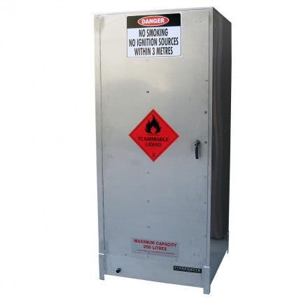 Stainless Steel Dangerous Goods Storage Cabinet with Roller Base - 250L - STOREMASTA