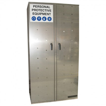 Stainless Steel PPE Storage Cabinet - Double Door - Hanging Rail - STOREMASTA