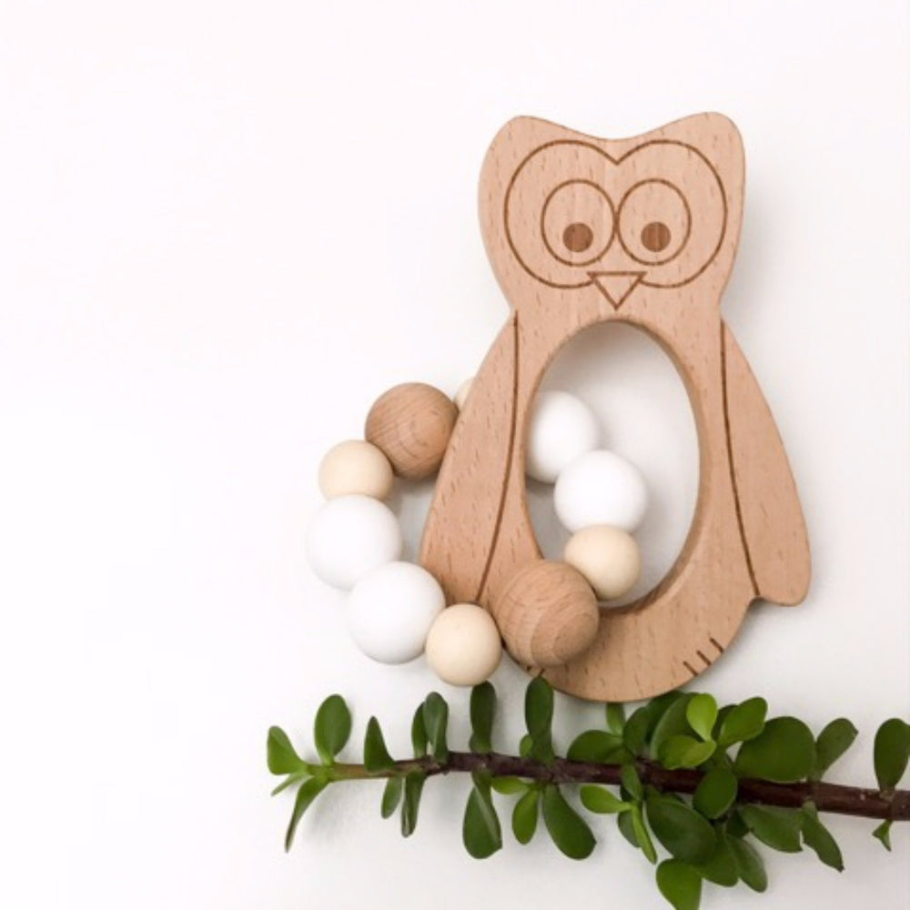 Wise Owl Silicone And Beech Wood Rattle Teether