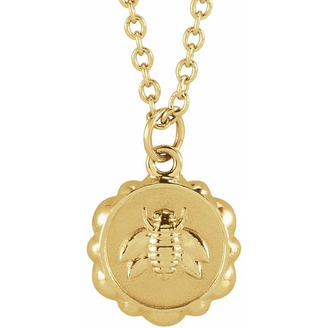14K Yellow Bee Medallion Necklace - Latoya Boyd Jewelry