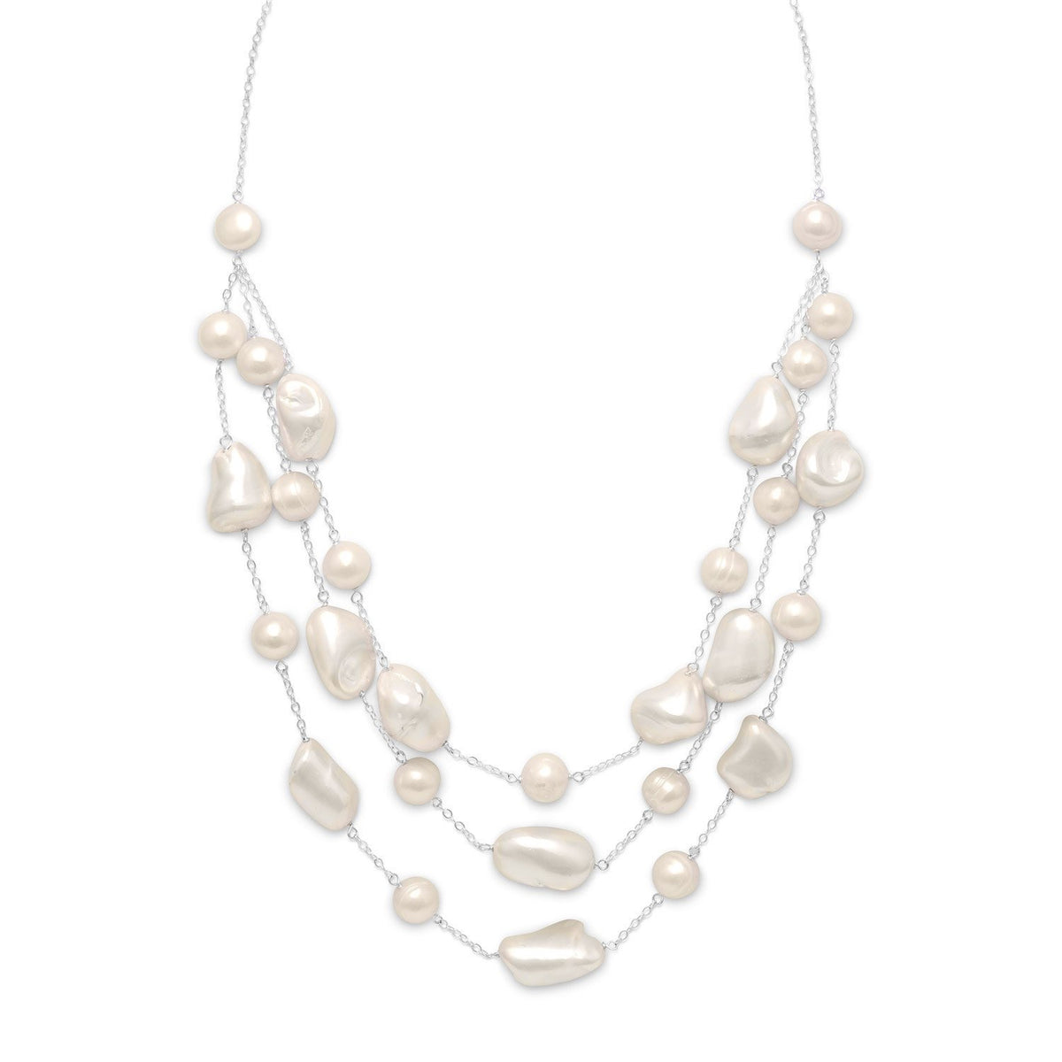 3 Strand Graduated Pearl and Shell Bib Statement Necklace - Latoya Boyd Jewelry