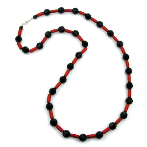 necklace black/ red metallic 80cm