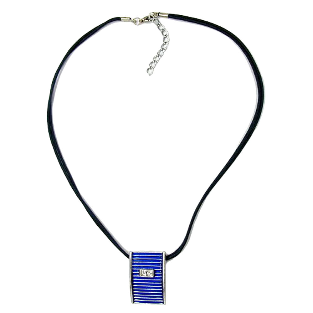 necklace blue and silver pendant 45cm