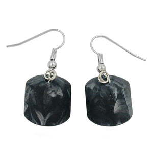 hook earrings grey black marbled beads