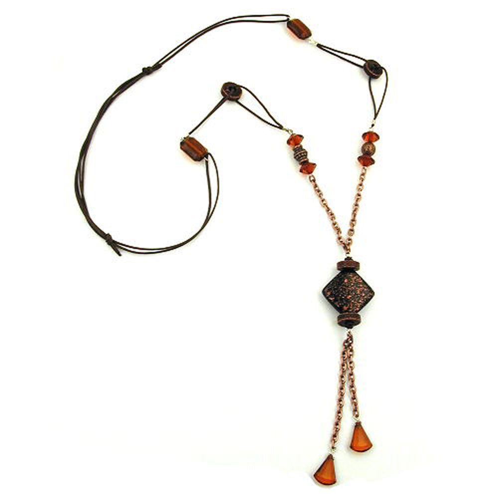 necklace square bead black/copper/brown coloured