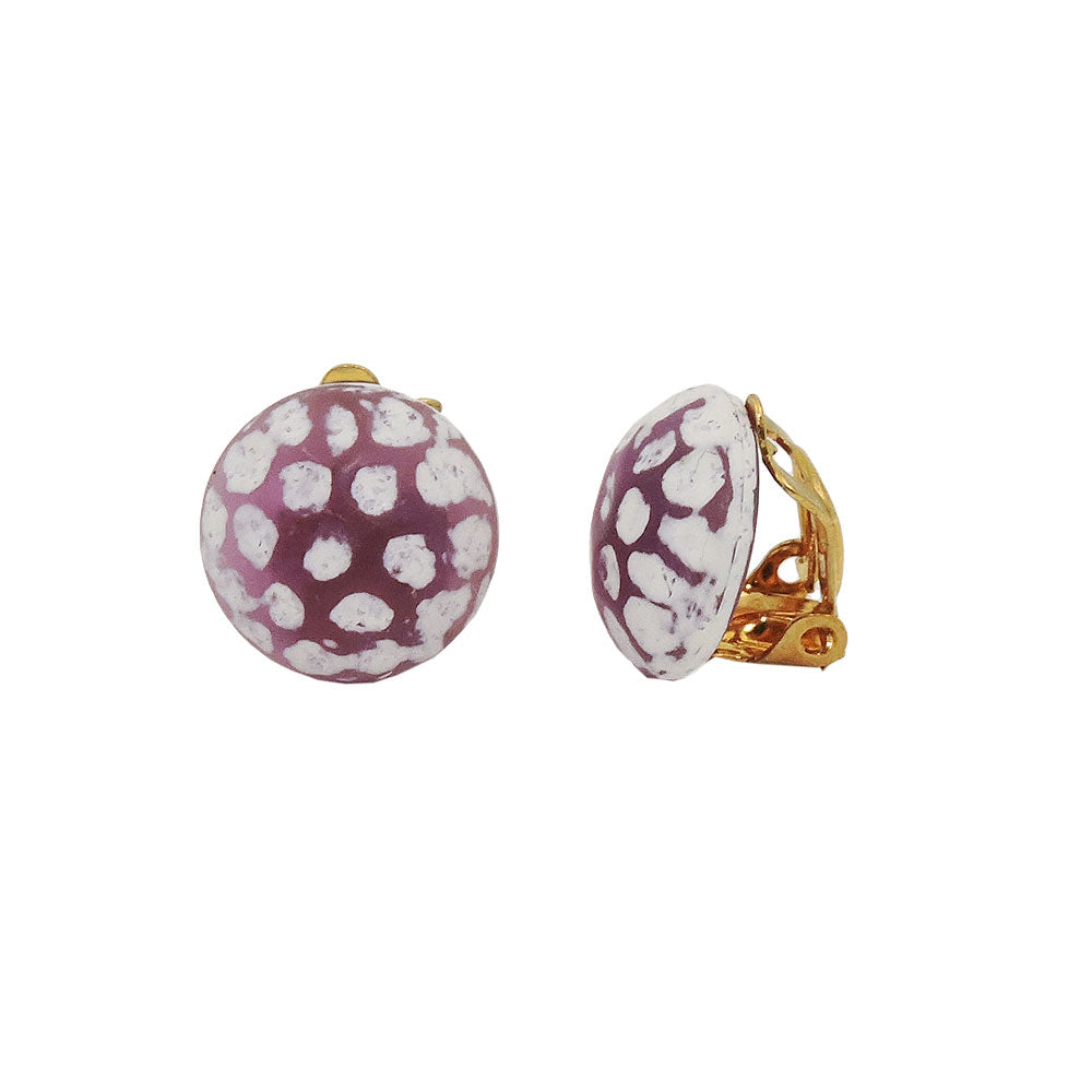 clip-on earring round purple white hammered 14mm