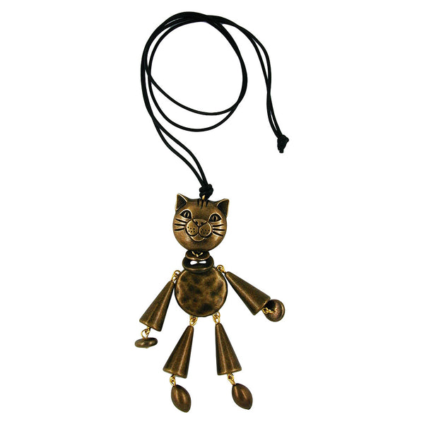 necklace cat vintage brass 90cm