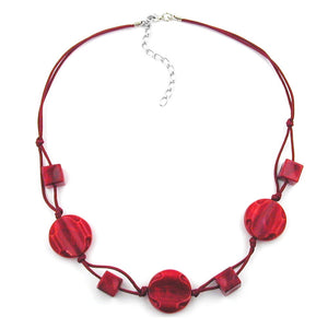 necklace red marbled beads red knotted cord