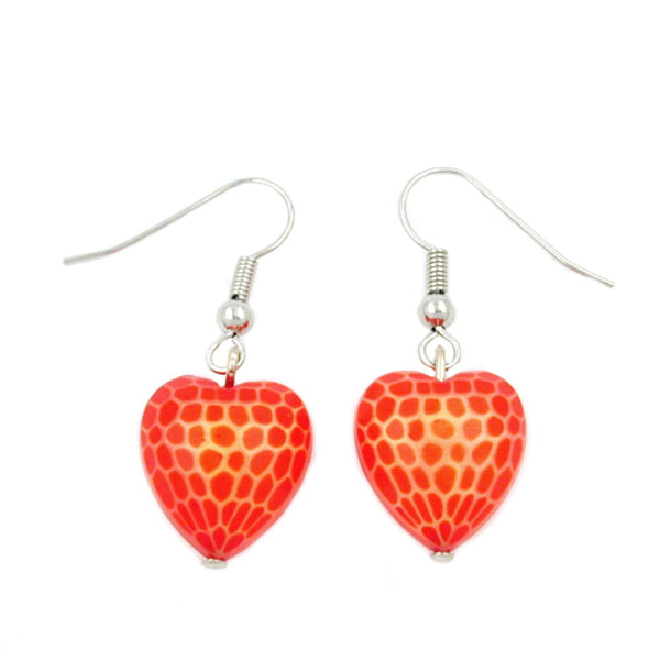 hook earrings heart orange red