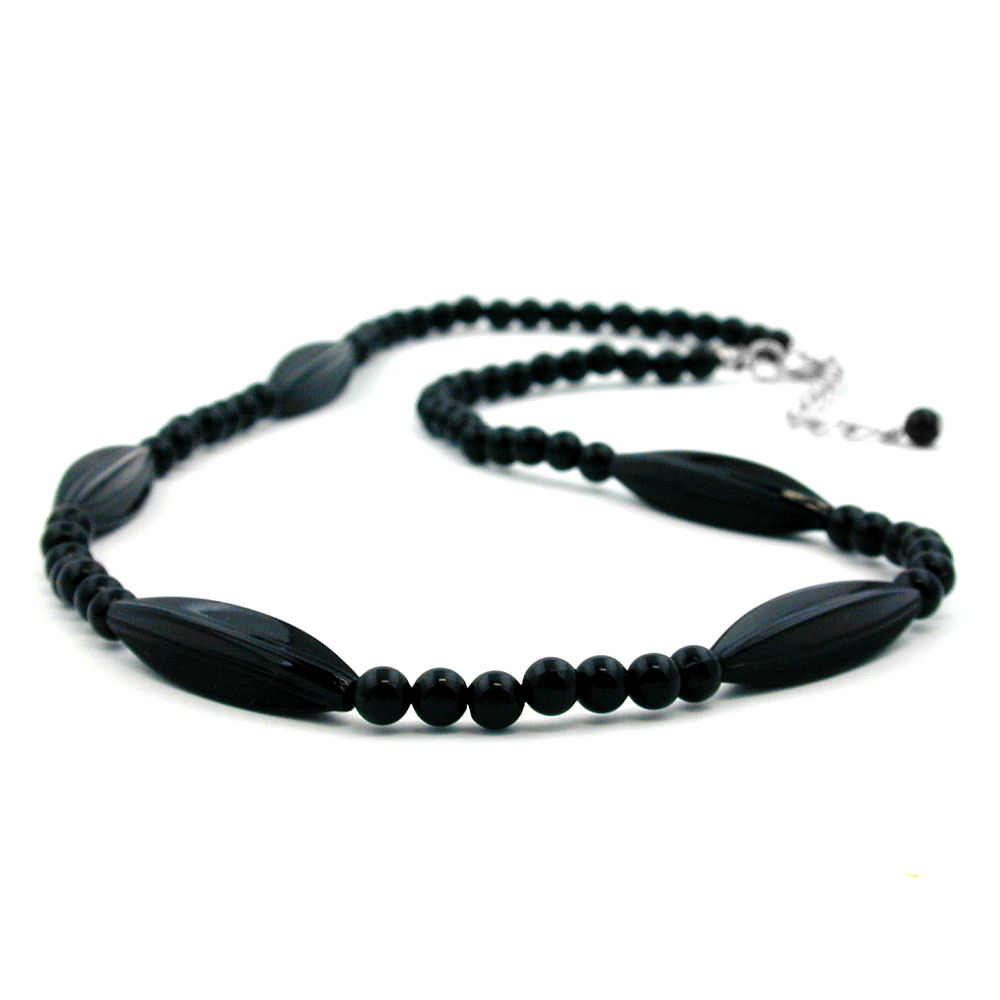 necklace black beads 50cm