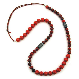 necklace red marbled beads silver coloured fantasy beads