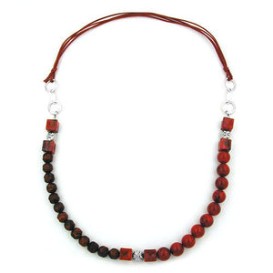 necklace beads red/ dark red chrome chain