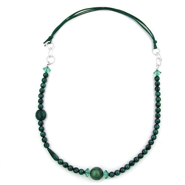 necklace green/ turquoise/ silky chrome rings