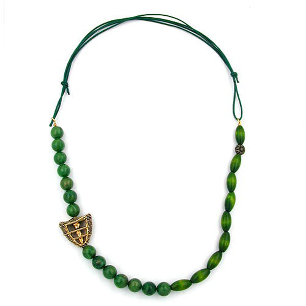 necklace dark green/ green marbled