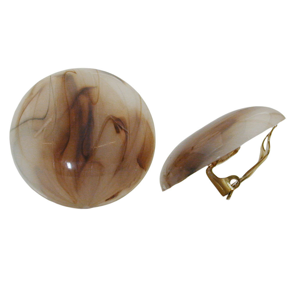 clip-on earring round beige brown marbled 30mm