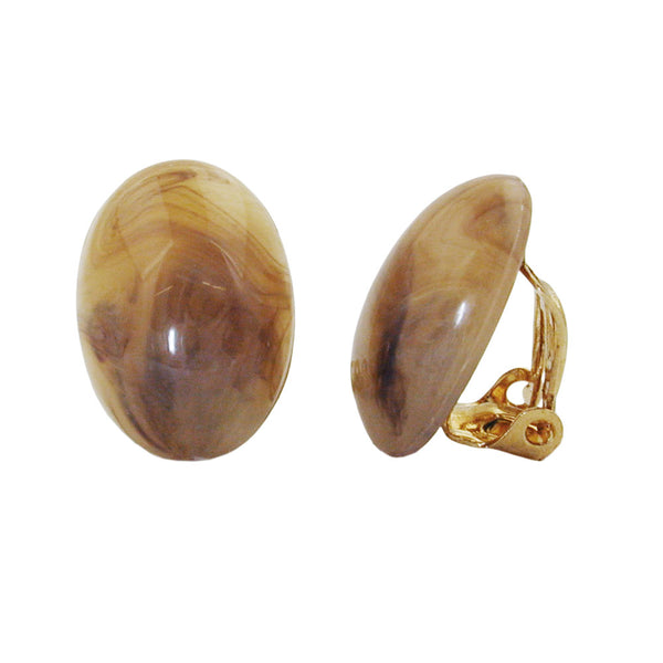 clip-on earring oval brown marbled 18x13mm