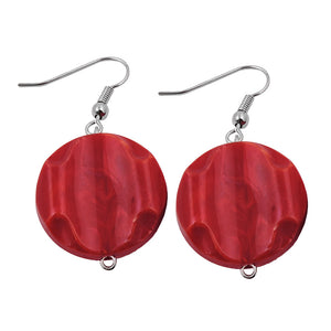 hook earrings marbled beads red