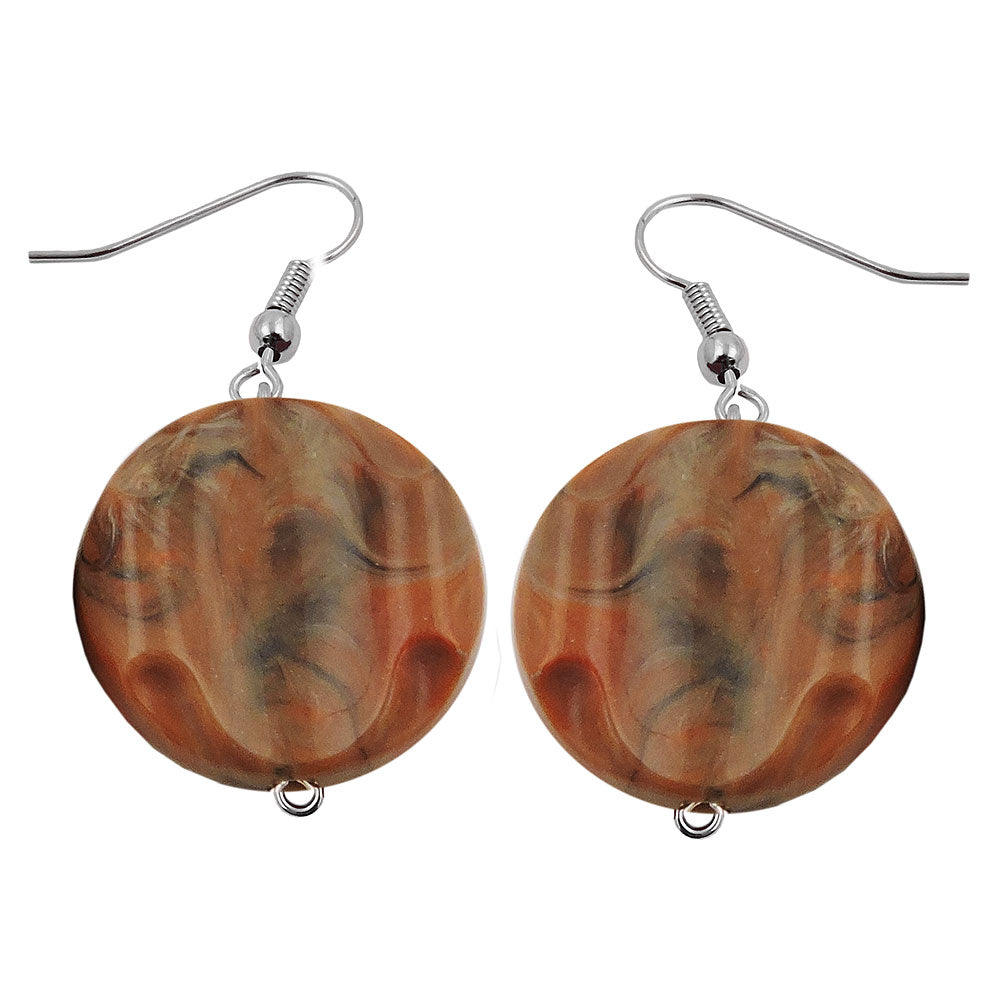 hook earrings marbled beads brown