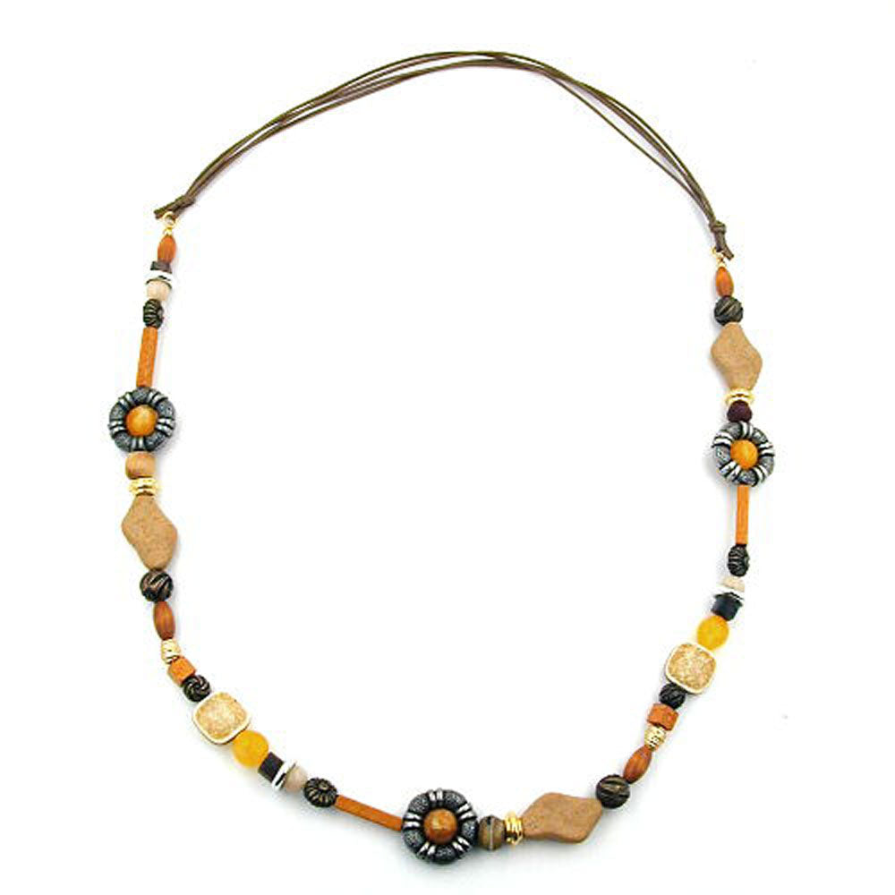 necklace orange/ light brown/ ochre