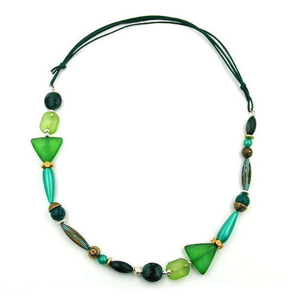 necklace mint green dark green multicolour design