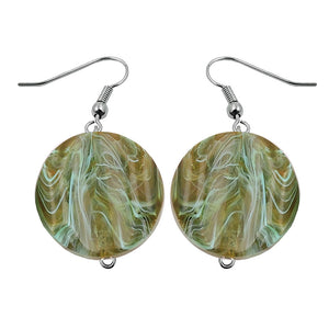 hook earrings marbled beads olive green