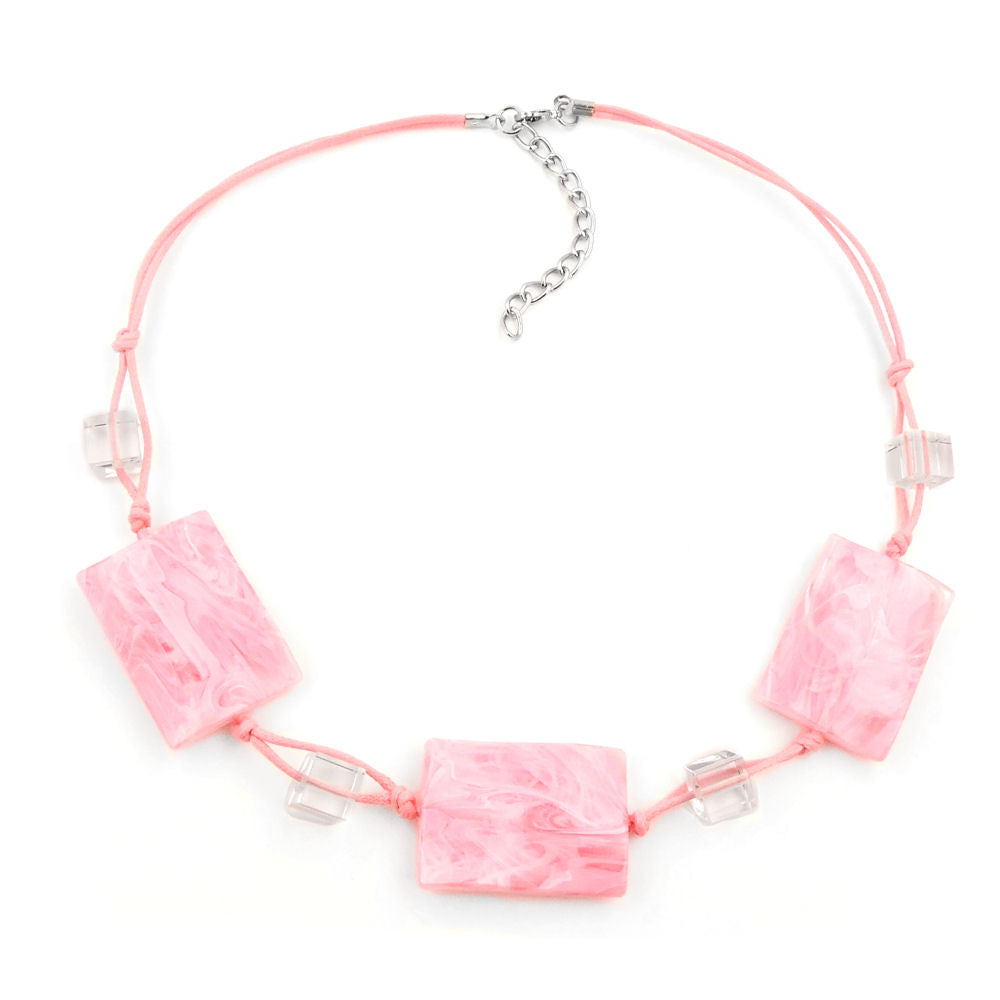 necklace wavy tetragon white-pink