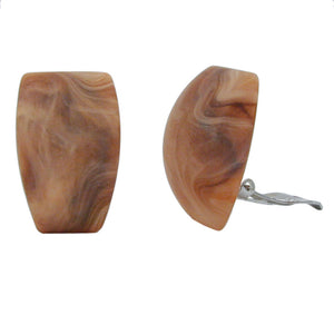 clip-on earring trapezium beige brown marbled