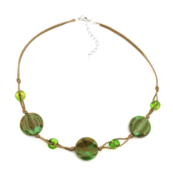 necklace beads on cord green-olive