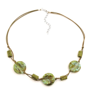 necklace beads on cord turquoise-olive